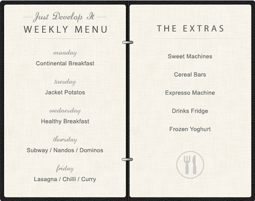 JDI menu list