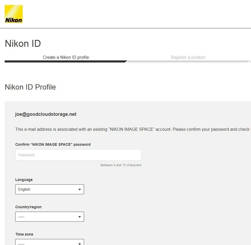 6.Create your own Nikon ID