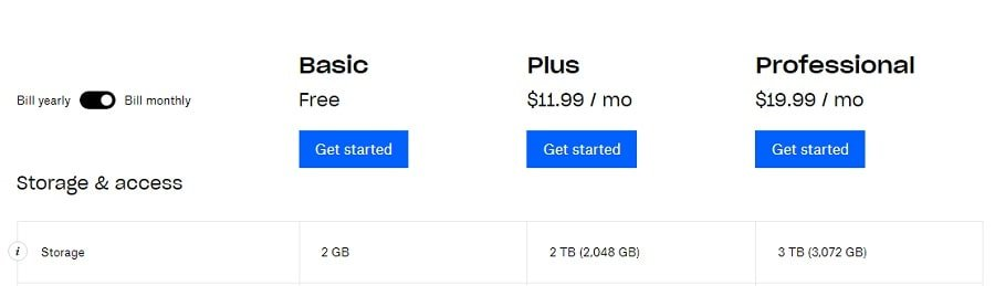 Screenshot 5 - Dropbox pricing