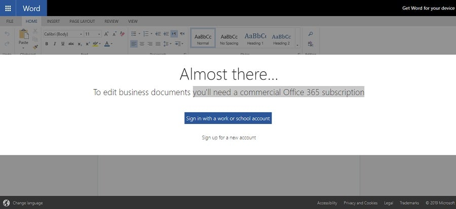 Dropbox require a commercial license from Office 365 to collaborate