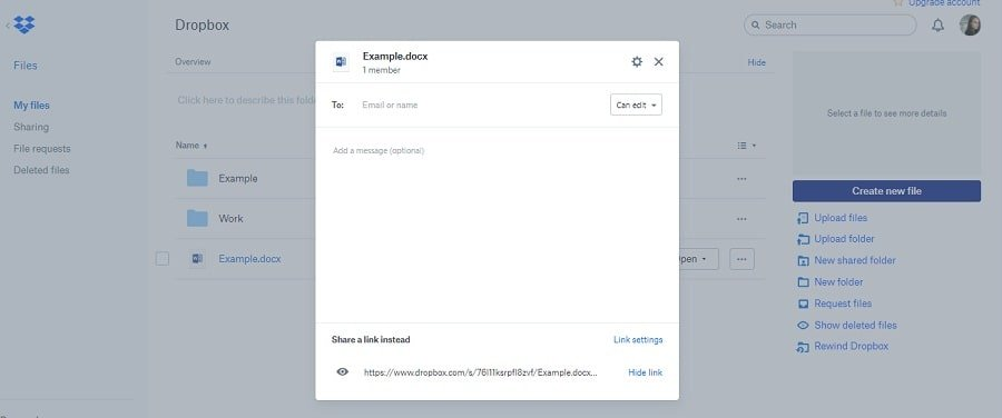 Dropbox sharing file