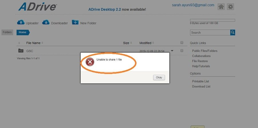 ADrive unable to share file