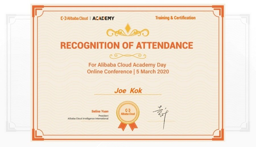 Attention-Cert-for-Alibaba-Cloud-Academy-Day