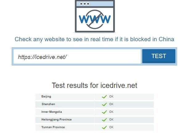 Icedrive is not blocked in China