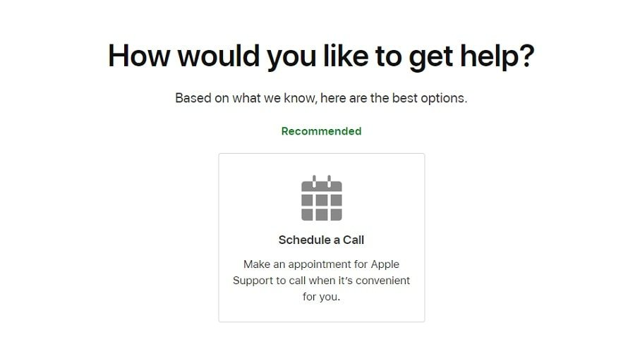 Scheduling a call appointment with Apple support