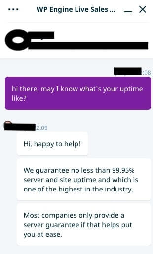 WPENGINE Live Chat about Uptime