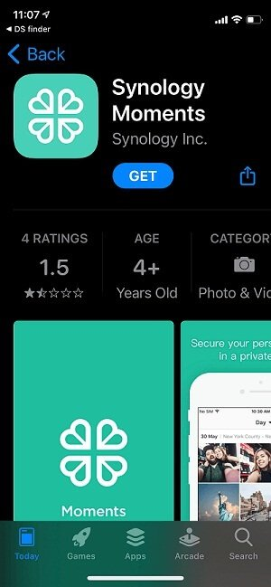 Downloading Moments app from app store